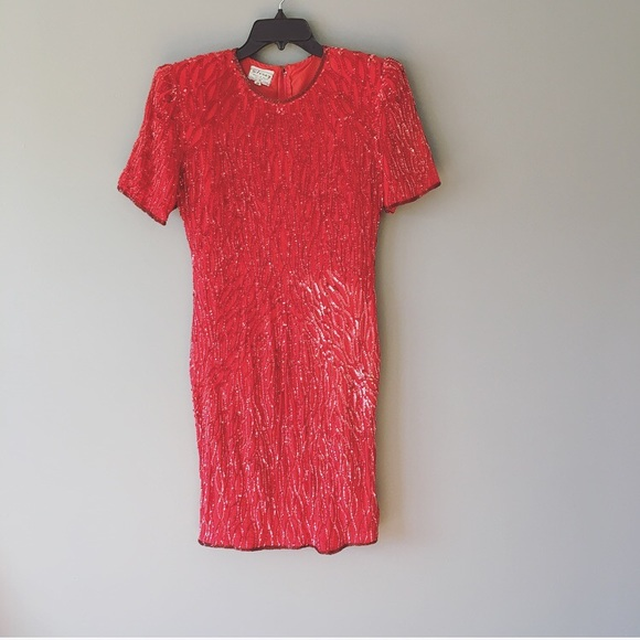 Stenay Dresses & Skirts - Vintage Stenay Red 100% Silk Sequins Dress Size 10